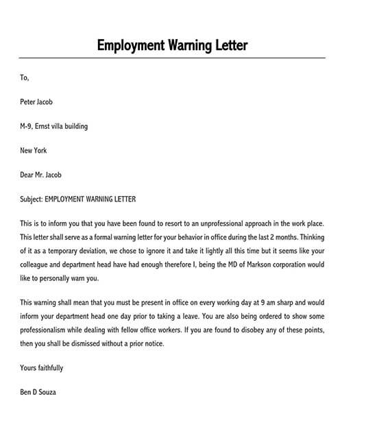 warning letter to employee for negligence