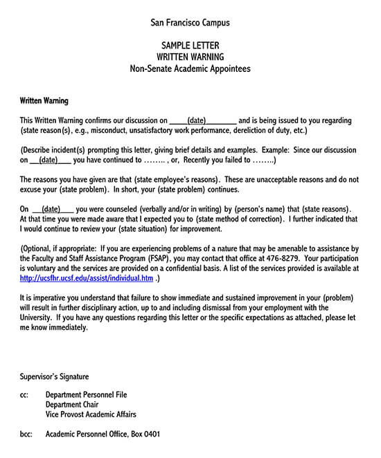 warning letter for poor performance