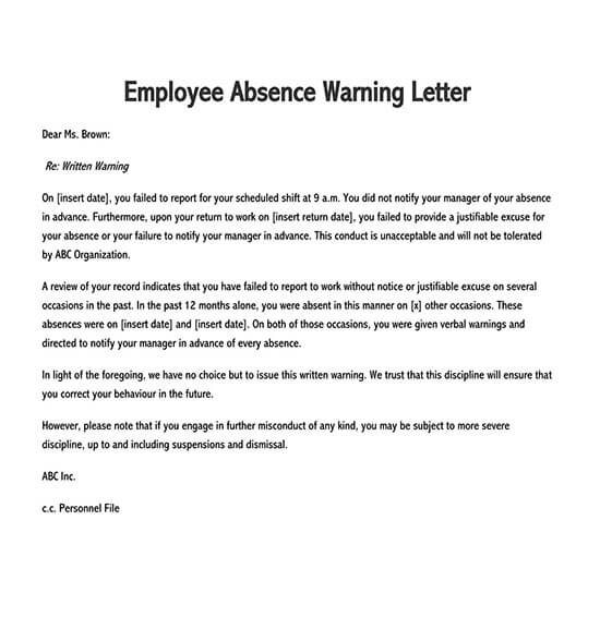 free employee warning letter template 01