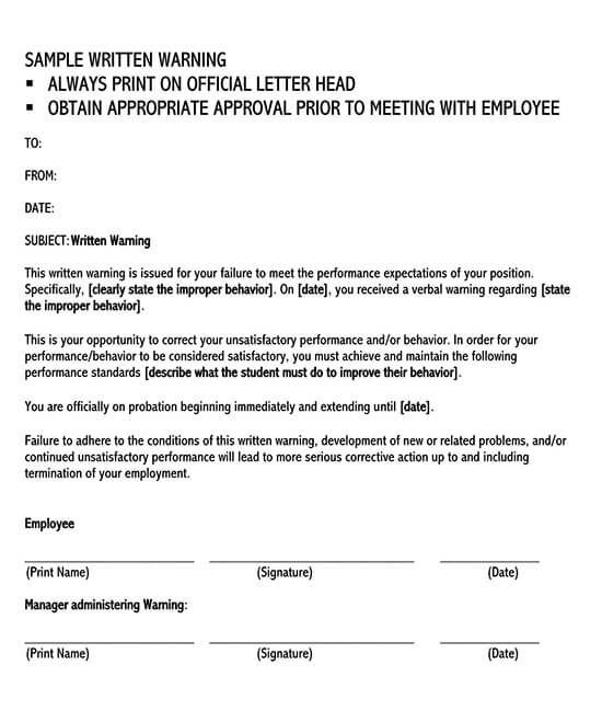 warning letter to employee for negligence 01