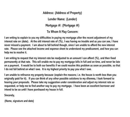 debt hardship letter