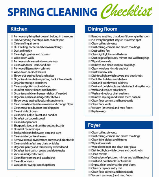 Cleaning Checklist Day by Day Sample