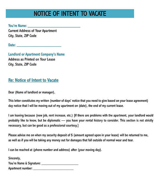 friendly 30 day notice to landlord