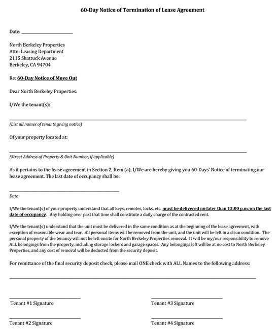 60 Day Rental Termination Letter PDF Printable