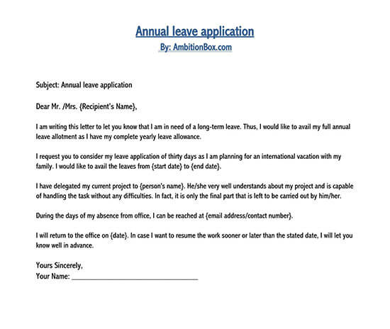 leave application letter in word format 01