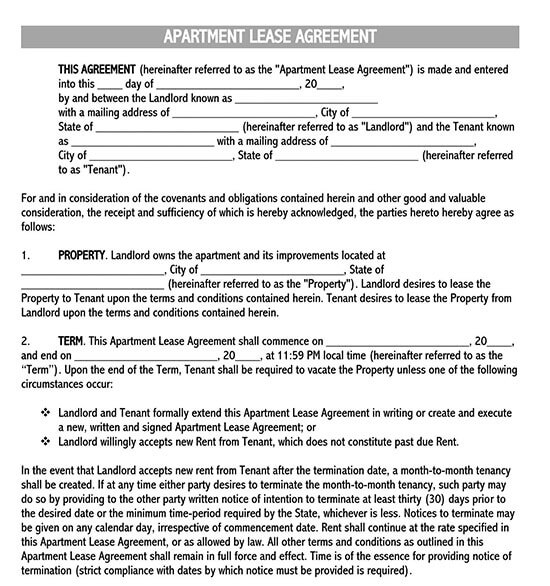 basic rental agreement or residential lease word doc 01