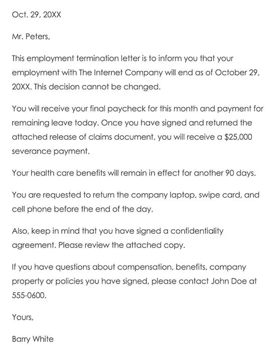 Basic Termination Letter to Employee Without Cause