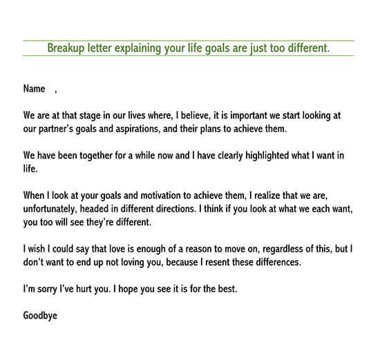 romantic break up letter
