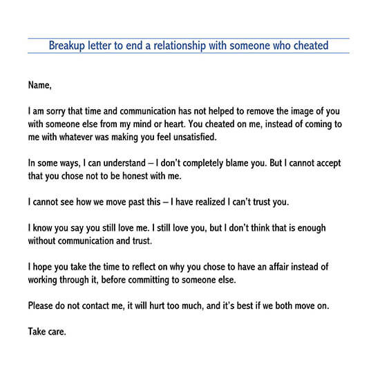 break up letter to someone you love