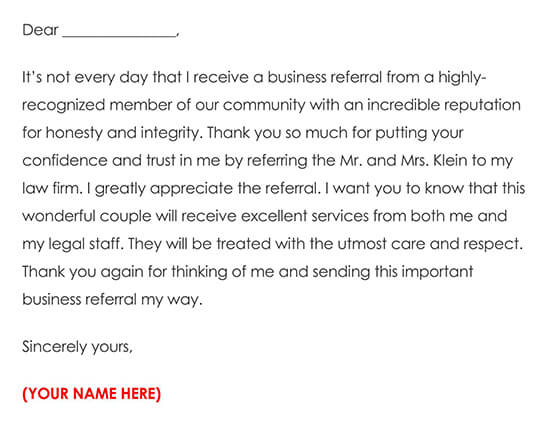 Business Referral Thank You Card Example 01