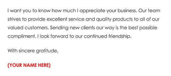 Business Referral Thank You Card Example 03