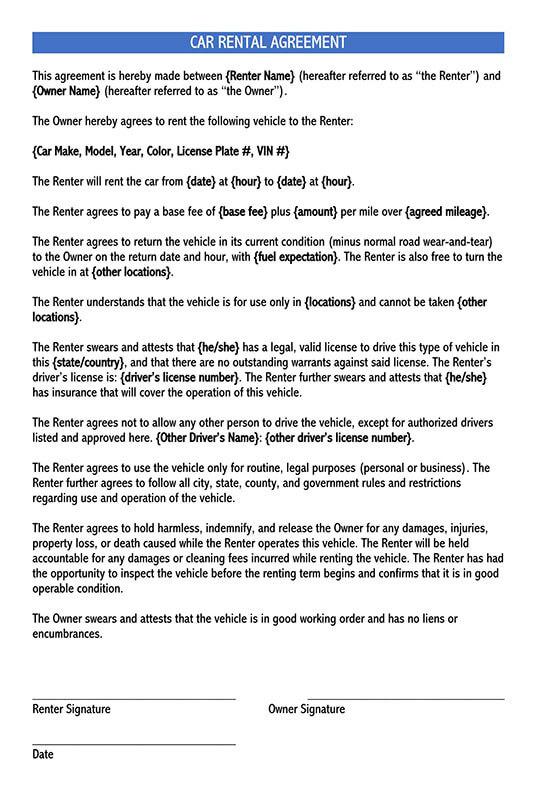free car rental agreement form word