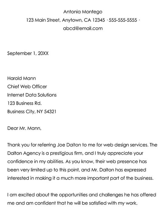 Client Referral Thank You Letter Example