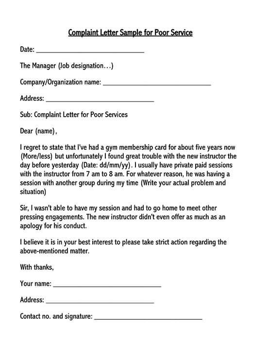 complaint letter sample pdf