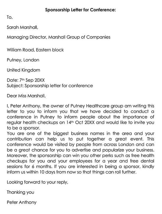 Conference Sponsor Thank You Letter