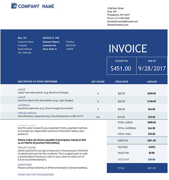 Construction Invoice Excel Template