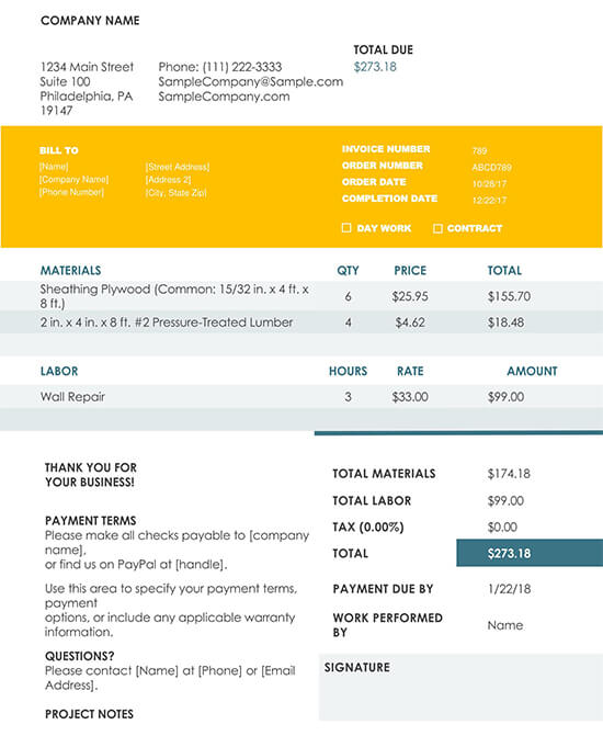 Construction Invoice Word Template