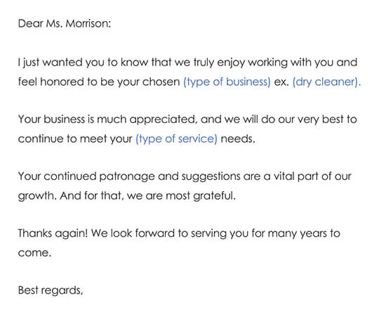Customer Thank You Letter Sample 01