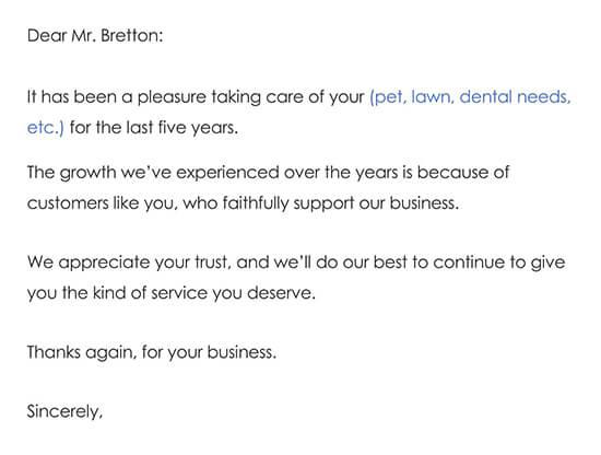 Customer Thank You Letter Sample 02