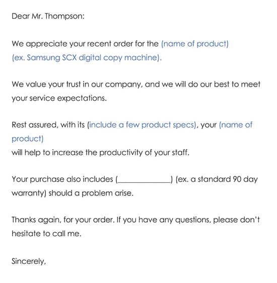 Customer Thank You Letter Sample 03
