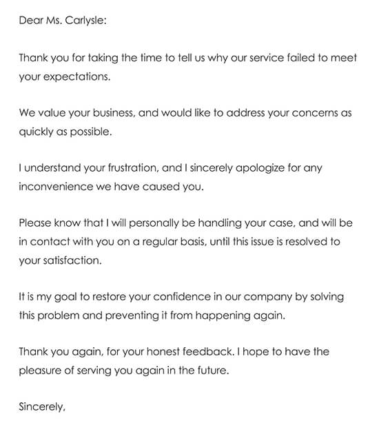 Customer Thank You Letter Sample 04