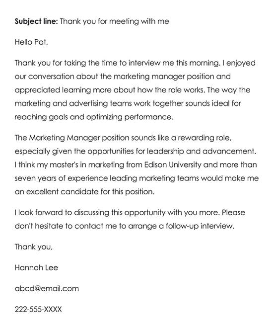 Detailed Thank-you Note for an Job Interview