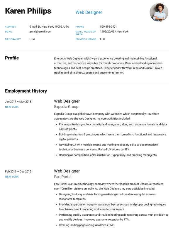 Resume For Web Developer Fresher