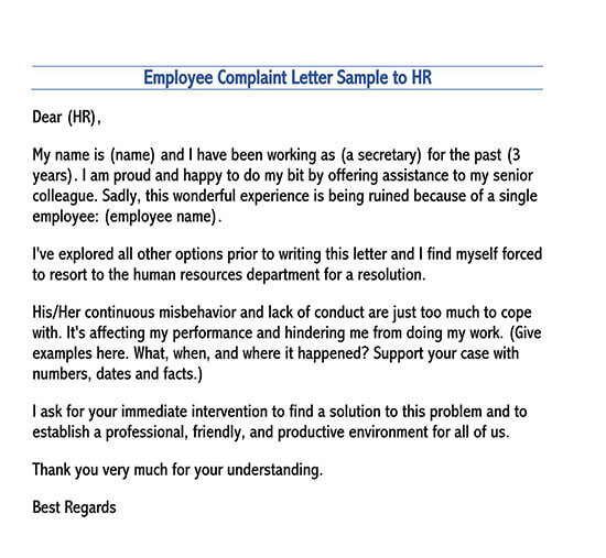 formal complaint letter sample against a person