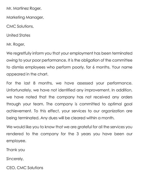 Employee Termination Letter due to Poor Performance Sample