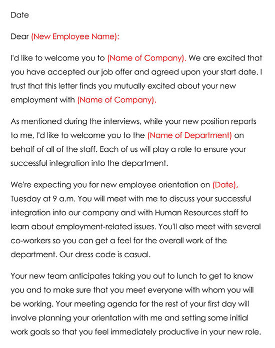 Employee Welcome Letter Sample 01