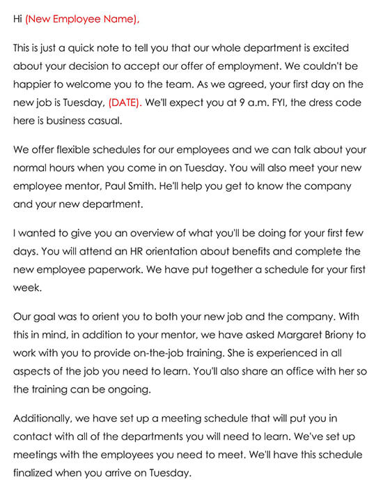 Employee Welcome Letter Sample 02