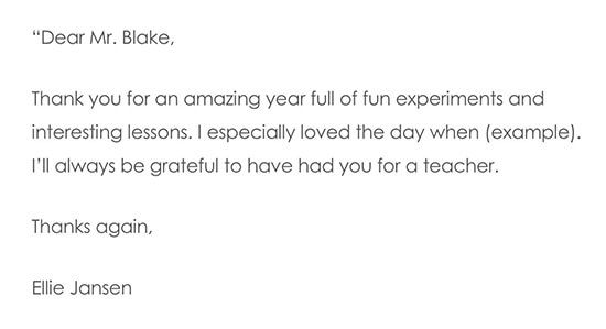 End of Year Thank You Note To Teacher