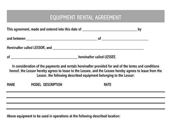 construction equipment rental agreement