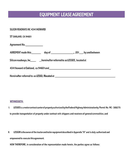 simple equipment rental agreement template word