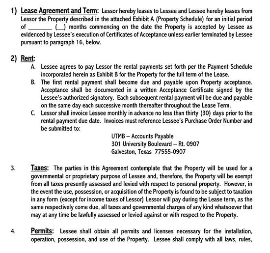 examples of equipment lease agreements