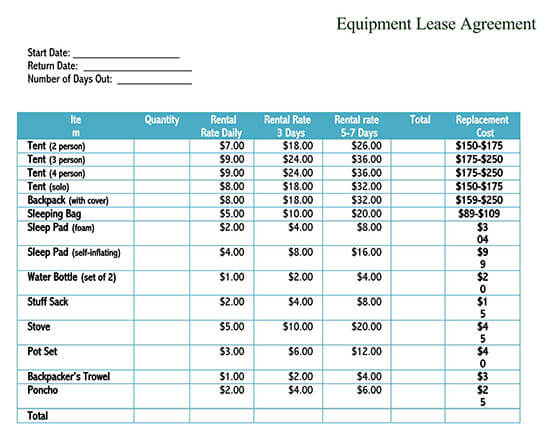 construction equipment rental agreement 01