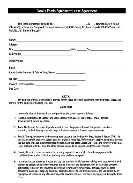 simple equipment rental agreement template word 01