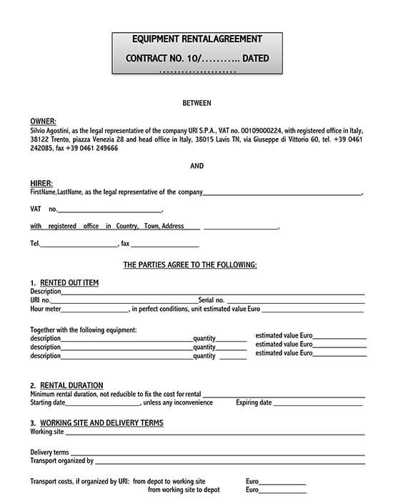 party equipment rental contract template 02