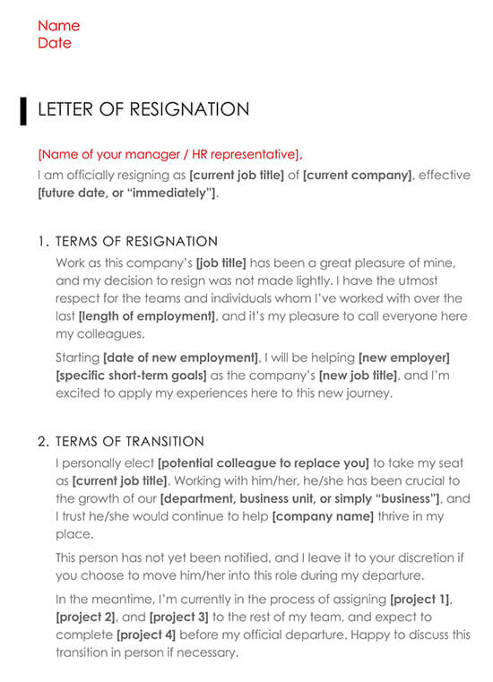 Executive Letter of Resignation