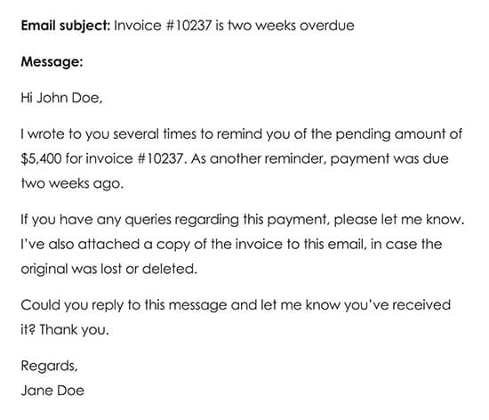 Fourth Payment Reminder Email Two Weeks After Late Payment