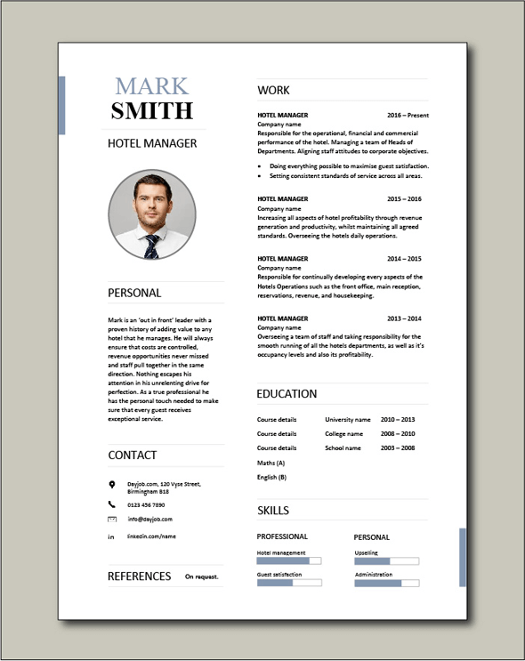 Free-Hotel-Manager-CV-template