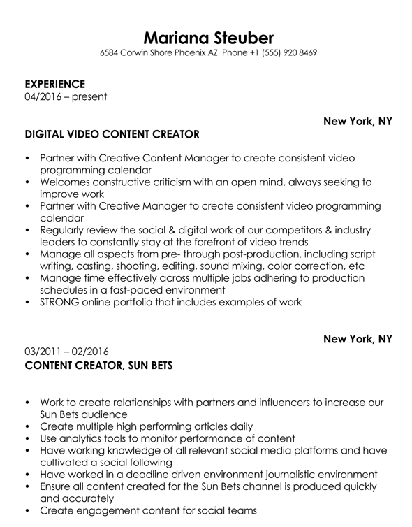 Content Creator Resume Objective