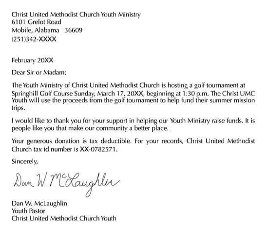 Golf Tournament Sponsor Thank You Letter