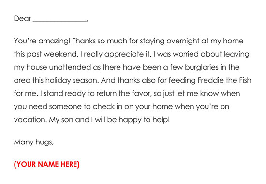 House Sitter Thank You Message Letter Example