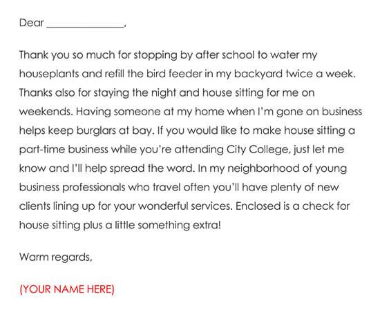 House Sitter Thanks Letter Sample