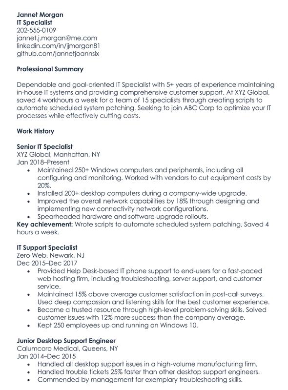 IT Specialist Resume Sample