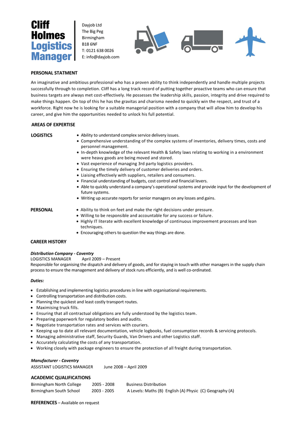 Logistics Manager Resume Word Format In India