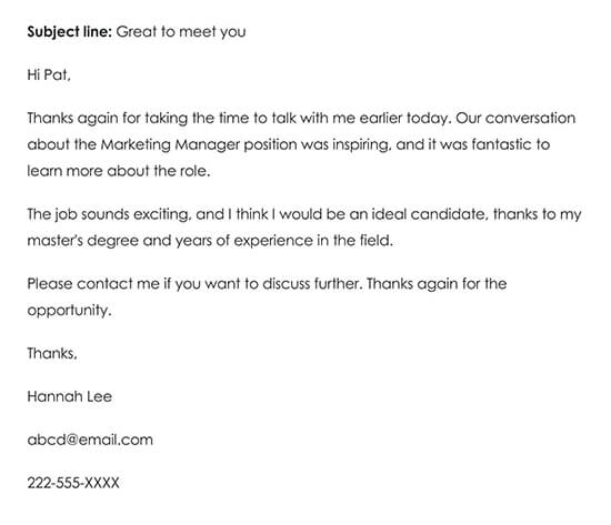 Informal Thank-you Note for Interview