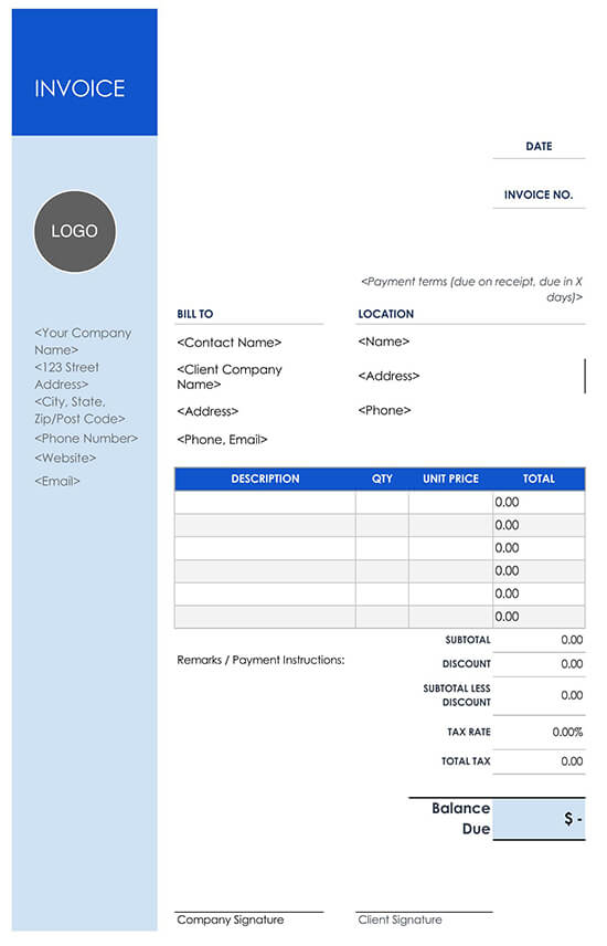 Invoice Template Side Construction