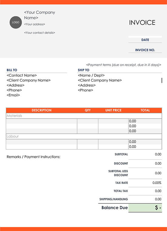 Invoice Template Top Construction